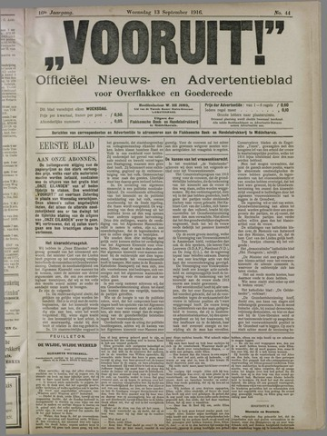 """""""Vooruit!""""Officieel Nieuws- en Advertentieblad voor Overflakkee en Goedereede 1916-09-13"""