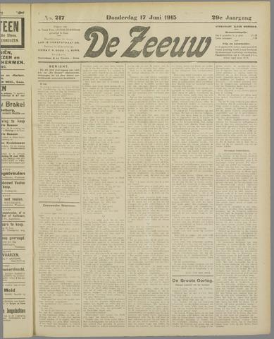 De Zeeuw. Christelijk-historisch nieuwsblad voor Zeeland 1915-06-17