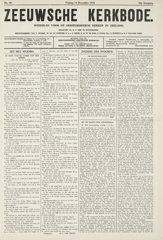 Zeeuwsche kerkbode, weekblad gewijd aan de belangen der gereformeerde kerken/ Zeeuwsch kerkblad 1934-12-14