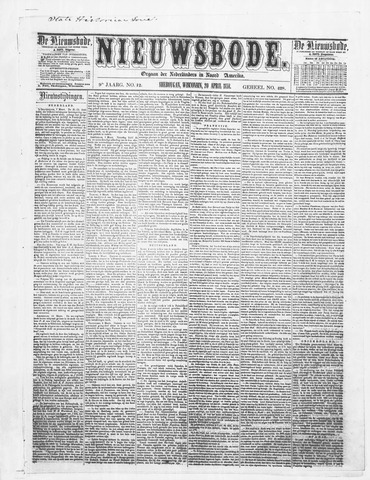 Sheboygan Nieuwsbode 1858-04-20