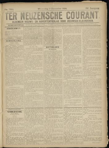 Ter Neuzensche Courant. Algemeen Nieuws- en Advertentieblad voor Zeeuwsch-Vlaanderen / Neuzensche Courant ... (idem) / (Algemeen) nieuws en advertentieblad voor Zeeuwsch-Vlaanderen 1924-12-03
