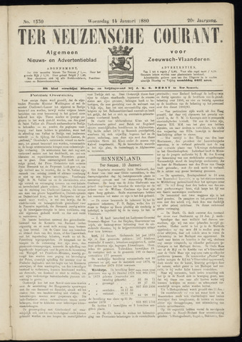 Ter Neuzensche Courant. Algemeen Nieuws- en Advertentieblad voor Zeeuwsch-Vlaanderen / Neuzensche Courant ... (idem) / (Algemeen) nieuws en advertentieblad voor Zeeuwsch-Vlaanderen 1880-01-14