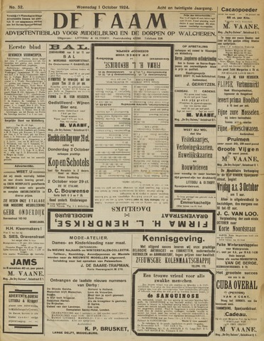 de Faam en de Faam/de Vlissinger 1924-10-01