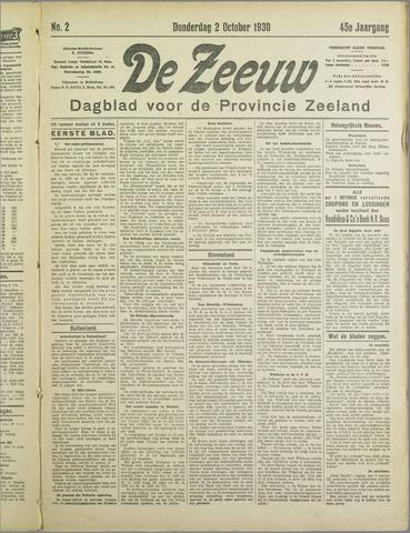 De Zeeuw. Christelijk-historisch nieuwsblad voor Zeeland 1930-10-02