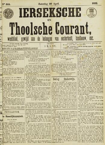 Ierseksche en Thoolsche Courant 1892-04-30