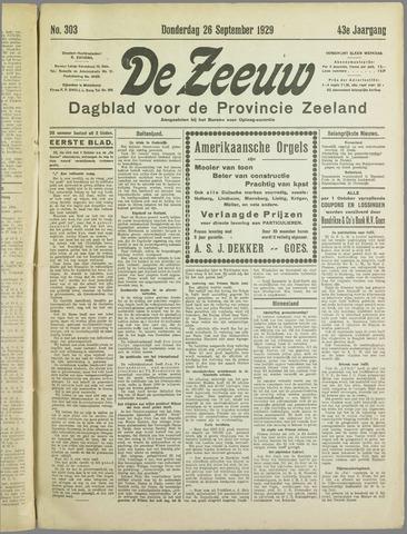 De Zeeuw. Christelijk-historisch nieuwsblad voor Zeeland 1929-09-26