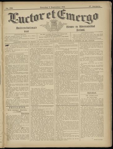 Luctor et Emergo. Antirevolutionair nieuws- en advertentieblad voor Zeeland / Zeeuwsch-Vlaanderen. Orgaan ter verspreiding van de christelijke beginselen in Zeeuwsch-Vlaanderen 1916-09-09