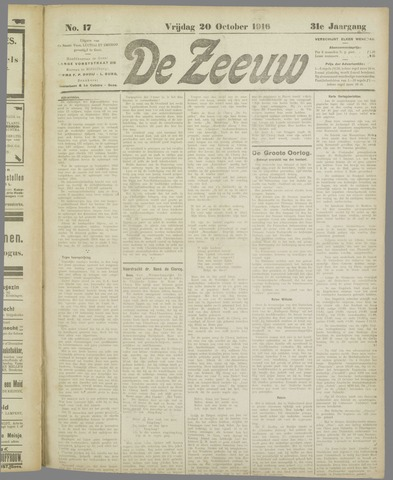 De Zeeuw. Christelijk-historisch nieuwsblad voor Zeeland 1916-10-20