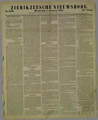 Zierikzeesche Nieuwsbode 1889-01-03