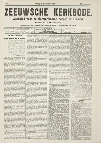 Zeeuwsche kerkbode, weekblad gewijd aan de belangen der gereformeerde kerken/ Zeeuwsch kerkblad 1929-09-13