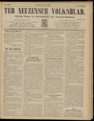 Ter Neuzensch Volksblad. Vrijzinnig nieuws- en advertentieblad voor Zeeuwsch- Vlaanderen / Zeeuwsch Nieuwsblad. Nieuws- en advertentieblad voor Zeeland 1916-06-03