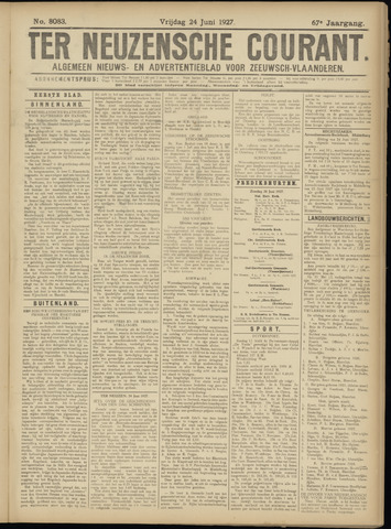 Ter Neuzensche Courant. Algemeen Nieuws- en Advertentieblad voor Zeeuwsch-Vlaanderen / Neuzensche Courant ... (idem) / (Algemeen) nieuws en advertentieblad voor Zeeuwsch-Vlaanderen 1927-06-24