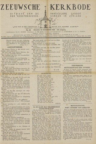 Zeeuwsche kerkbode, weekblad gewijd aan de belangen der gereformeerde kerken/ Zeeuwsch kerkblad 1945-11-30