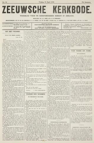Zeeuwsche kerkbode, weekblad gewijd aan de belangen der gereformeerde kerken/ Zeeuwsch kerkblad 1938-04-22
