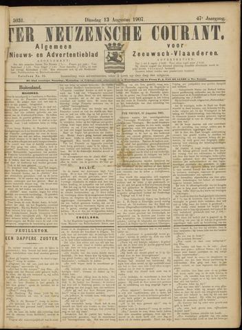 Ter Neuzensche Courant. Algemeen Nieuws- en Advertentieblad voor Zeeuwsch-Vlaanderen / Neuzensche Courant ... (idem) / (Algemeen) nieuws en advertentieblad voor Zeeuwsch-Vlaanderen 1907-08-13