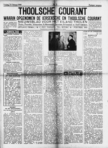 Ierseksche en Thoolsche Courant 1944-02-25