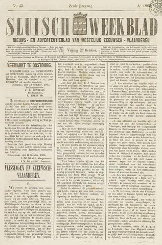 Sluisch Weekblad. Nieuws- en advertentieblad voor Westelijk Zeeuwsch-Vlaanderen 1865-10-27