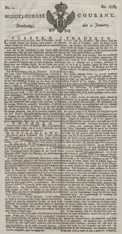 Middelburgsche Courant 1778