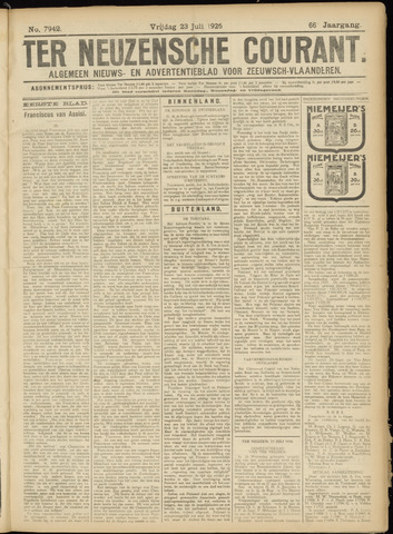 Ter Neuzensche Courant. Algemeen Nieuws- en Advertentieblad voor Zeeuwsch-Vlaanderen / Neuzensche Courant ... (idem) / (Algemeen) nieuws en advertentieblad voor Zeeuwsch-Vlaanderen 1926-07-23