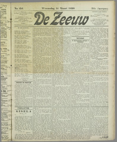 De Zeeuw. Christelijk-historisch nieuwsblad voor Zeeland 1920-03-31