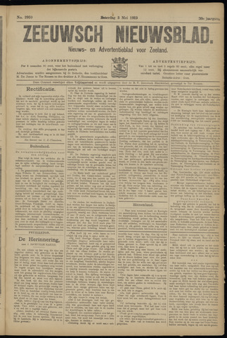 Ter Neuzensch Volksblad. Vrijzinnig nieuws- en advertentieblad voor Zeeuwsch- Vlaanderen / Zeeuwsch Nieuwsblad. Nieuws- en advertentieblad voor Zeeland 1919-05-03