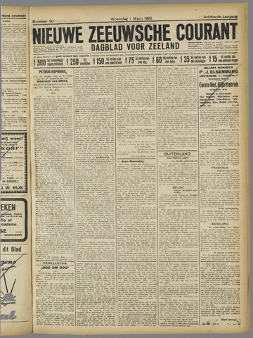Nieuwe Zeeuwsche Courant 1922-03-01