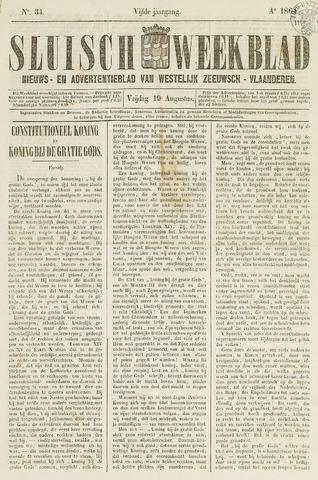 Sluisch Weekblad. Nieuws- en advertentieblad voor Westelijk Zeeuwsch-Vlaanderen 1864-08-19