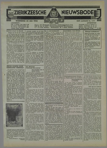 Zierikzeesche Nieuwsbode 1942-07-22