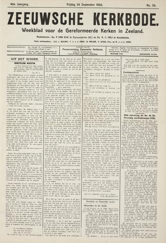 Zeeuwsche kerkbode, weekblad gewijd aan de belangen der gereformeerde kerken/ Zeeuwsch kerkblad 1926-09-24