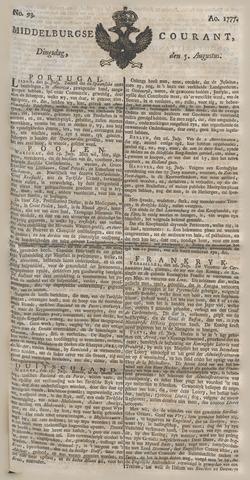 Middelburgsche Courant 1777-08-05