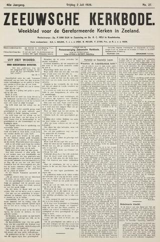 Zeeuwsche kerkbode, weekblad gewijd aan de belangen der gereformeerde kerken/ Zeeuwsch kerkblad 1926-07-02