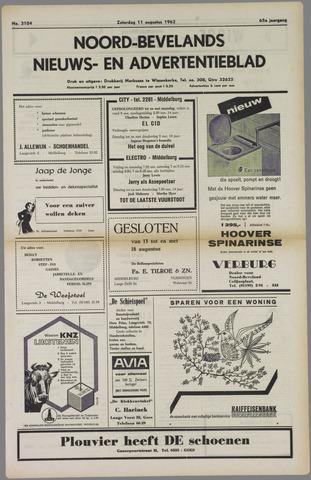 Noord-Bevelands Nieuws- en advertentieblad 1962-08-11