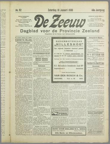 De Zeeuw. Christelijk-historisch nieuwsblad voor Zeeland 1930-01-18