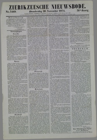 Zierikzeesche Nieuwsbode 1874-11-26