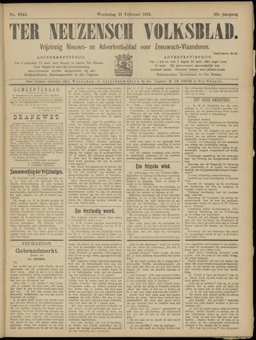Ter Neuzensch Volksblad. Vrijzinnig nieuws- en advertentieblad voor Zeeuwsch- Vlaanderen / Zeeuwsch Nieuwsblad. Nieuws- en advertentieblad voor Zeeland 1912-02-21
