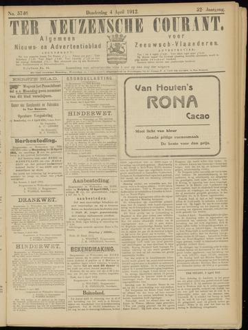 Ter Neuzensche Courant. Algemeen Nieuws- en Advertentieblad voor Zeeuwsch-Vlaanderen / Neuzensche Courant ... (idem) / (Algemeen) nieuws en advertentieblad voor Zeeuwsch-Vlaanderen 1912-04-04