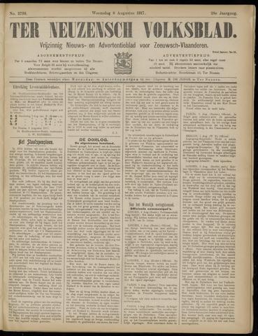 Ter Neuzensch Volksblad. Vrijzinnig nieuws- en advertentieblad voor Zeeuwsch- Vlaanderen / Zeeuwsch Nieuwsblad. Nieuws- en advertentieblad voor Zeeland 1917-08-08