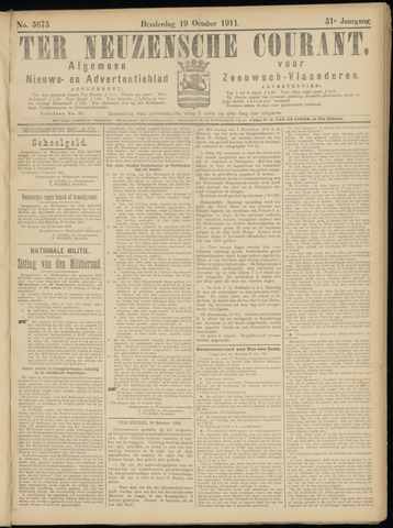 Ter Neuzensche Courant. Algemeen Nieuws- en Advertentieblad voor Zeeuwsch-Vlaanderen / Neuzensche Courant ... (idem) / (Algemeen) nieuws en advertentieblad voor Zeeuwsch-Vlaanderen 1911-10-19