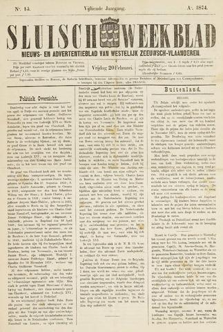 Sluisch Weekblad. Nieuws- en advertentieblad voor Westelijk Zeeuwsch-Vlaanderen 1874-02-20