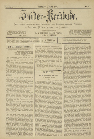 Zuider Kerkbode, Weekblad gewijd aan de belangen der gereformeerde kerken in Zeeland, Noord-Brabant en Limburg. 1897-06-04