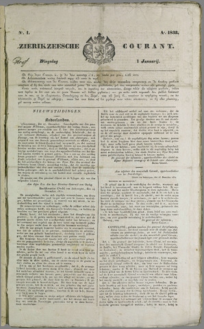 Zierikzeesche Courant 1833