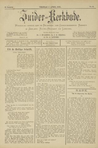 Zuider Kerkbode, Weekblad gewijd aan de belangen der gereformeerde kerken in Zeeland, Noord-Brabant en Limburg. 1897-04-02