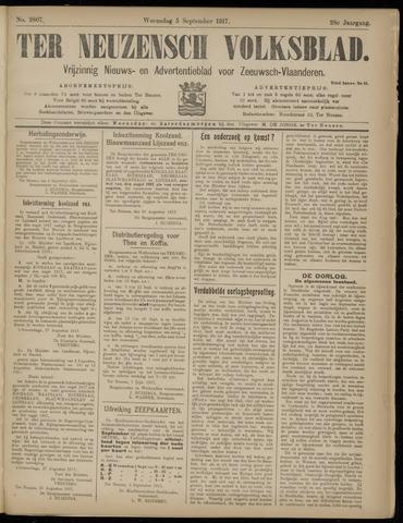 Ter Neuzensch Volksblad. Vrijzinnig nieuws- en advertentieblad voor Zeeuwsch- Vlaanderen / Zeeuwsch Nieuwsblad. Nieuws- en advertentieblad voor Zeeland 1917-09-05