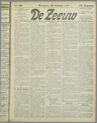 De Zeeuw. Christelijk-historisch nieuwsblad voor Zeeland 1918-02-27