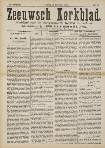Zeeuwsche kerkbode, weekblad gewijd aan de belangen der gereformeerde kerken/ Zeeuwsch kerkblad 1908-02-28