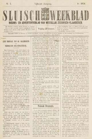 Sluisch Weekblad. Nieuws- en advertentieblad voor Westelijk Zeeuwsch-Vlaanderen 1874-01-23