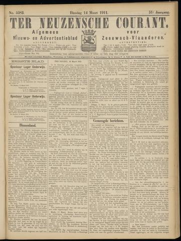 Ter Neuzensche Courant. Algemeen Nieuws- en Advertentieblad voor Zeeuwsch-Vlaanderen / Neuzensche Courant ... (idem) / (Algemeen) nieuws en advertentieblad voor Zeeuwsch-Vlaanderen 1911-03-14