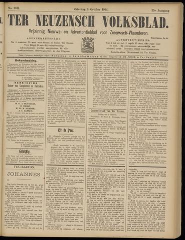 Ter Neuzensch Volksblad. Vrijzinnig nieuws- en advertentieblad voor Zeeuwsch- Vlaanderen / Zeeuwsch Nieuwsblad. Nieuws- en advertentieblad voor Zeeland 1914-10-03