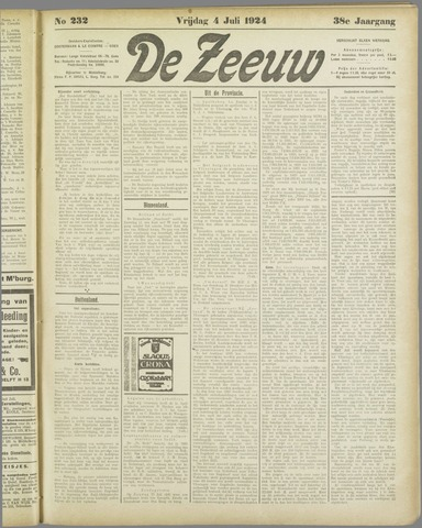 De Zeeuw. Christelijk-historisch nieuwsblad voor Zeeland 1924-07-04