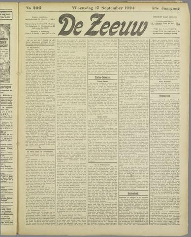De Zeeuw. Christelijk-historisch nieuwsblad voor Zeeland 1924-09-17